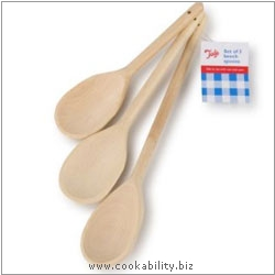 Tala Waxed Wooden Spoons Set of Three. Original product image, © Cookability