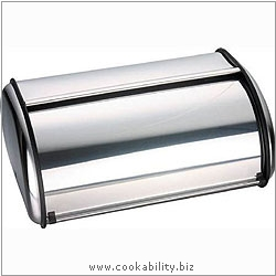 Cookability Stainless Steel Bread Bin. Original product image, © Cookability