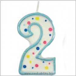 Culpitt Blue Birthday Numeral Candle - Two. Original product image, © Cookability