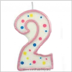 Culpitt Pink Birthday Numeral Candle - Two. Original product image, © Cookability