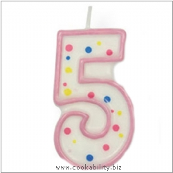 Culpitt Pink Birthday Numeral Candle - Five. Original product image, © Cookability