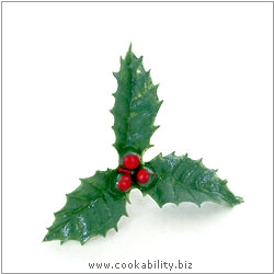 Xmas Cake Decorations Holly and Berries. Original product image, © Cookability