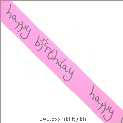 Ribbon Happy Birthday Pink. Original product image, © Cookability