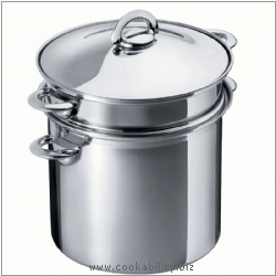 Durotherm Inox Pasta Pot. Derived work from original images, © Kuhn Rikon (UK) Ltd, used with permission.
