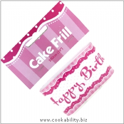 Cookability Cake Frill Perfectly Pink Happy Birthday. Original product image, © Cookability