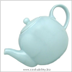 London Pottery Sky Blue Teapot. Original product image, © Cookability