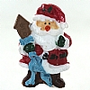 Xmas Cake Decorations Santa with Ribbon