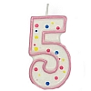Culpitt Pink Birthday Numeral Candle - Five