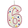 Culpitt Pink Birthday Numeral Candle - Six